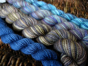 "Wee Koigu ""orphans,"" or mini-skeins of mill-ends"