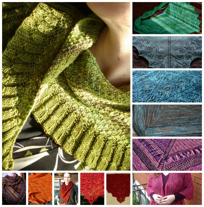 A few of my shawls... (mostly triangular. Some knit for me.)